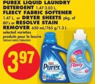 Purex Liquid Laundry Detergent - 1.47-2.03 L - Fleecy Fabric Softener - 1.47 L - or Dryer Sheets - Pkg of 80's or Resolve Stain Remover - 650 Ml/765 G/1.3 L