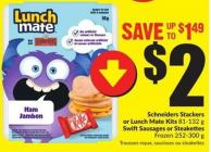Schneiders Stackers or Lunch Mate Kits 81-132 g Swiftsausages or Steakettes Frozen 252-300 g