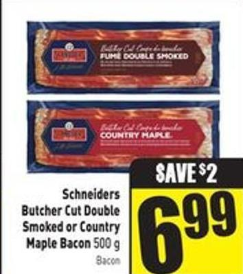 Schneiders Butcher Cut Double Smoked or Country Maple Bacon