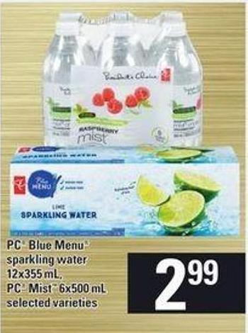 PC Blue Menu Sparkling Water - 12x355 mL - PC Mist - 6x500 mL