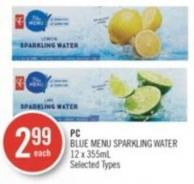 PC Blue Menu Sparkling Water 12 X 355ml