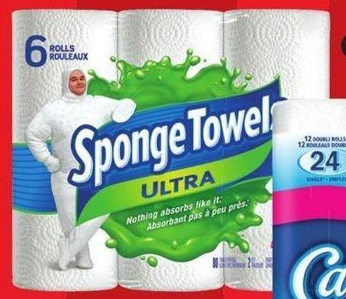 Sponge Towels Ultra Sponge Towels - 6 Rolls or Scotties 2-ply Facial Tissue - 6-pack/126 Sheets
