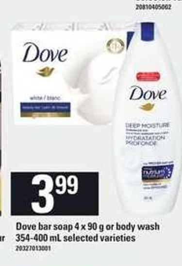 Dove Bar Soap 4 X 90 g or Body Wash 354-400 mL