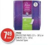 Poise Protective Pads (12's - 38's) or Liners (12's - 54's)