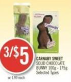 Carnaby Sweet Solid Chocolate Bunny 100g - 175g