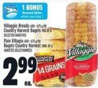 Villaggio Breads 600 - 675 G Or Country Harvest Bagels Pkg Of 6