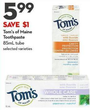 Tom's of Maine  Toothpaste 85ml Tube