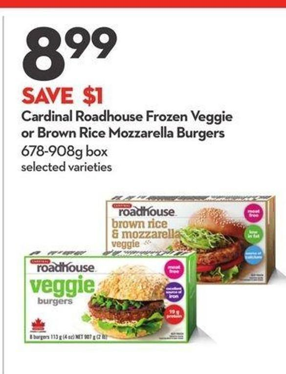 Cardinal Roadhouse Frozen Veggie or Brown Rice Mozzarella Burgers