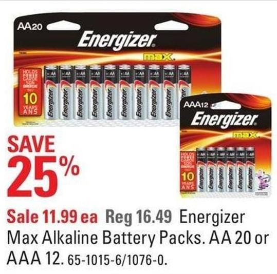 Energizer Max Alkaline Battery Packs