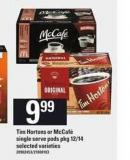 Tim Hortons Or Mccafé Single Serve PODS - Pkg 12/14