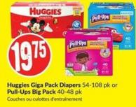 Huggies Giga Pack Diapers 54-108 Pk or Pull-Ups Big Pack 40-48 Pk