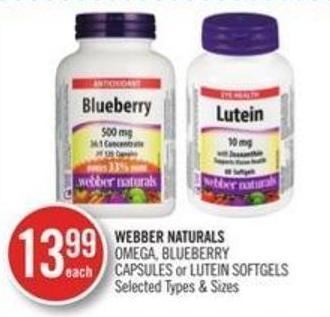 Webber Naturals Omega Blueberry Capsules or Lutein Softgels