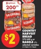 Country Harvest Bread 570/600 G Or Bagels 6's