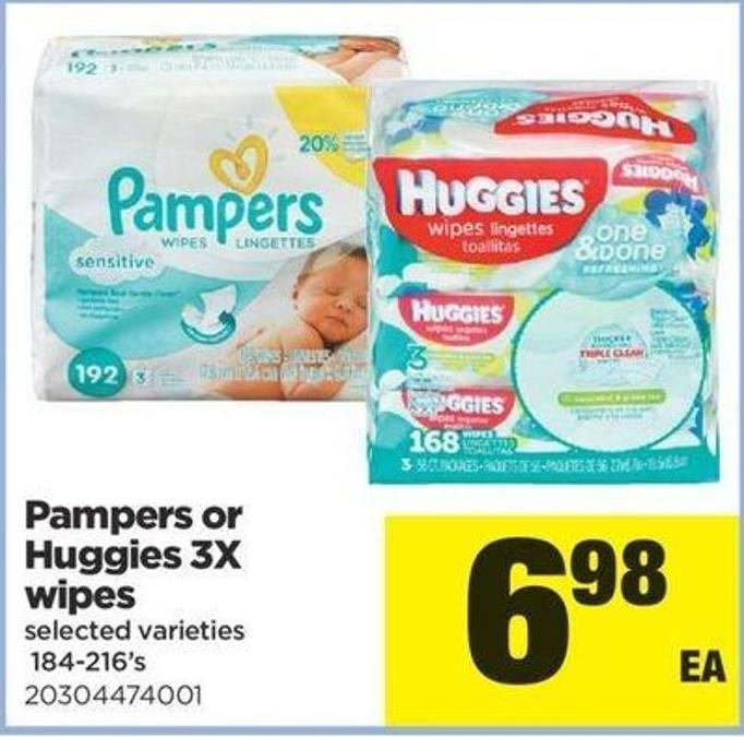 Pampers Or Huggies 3x Wipes - 184-216's