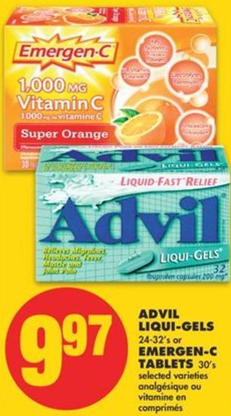 Advil Liqui-gels 24-32's Or Emergen-c Tablets 30's