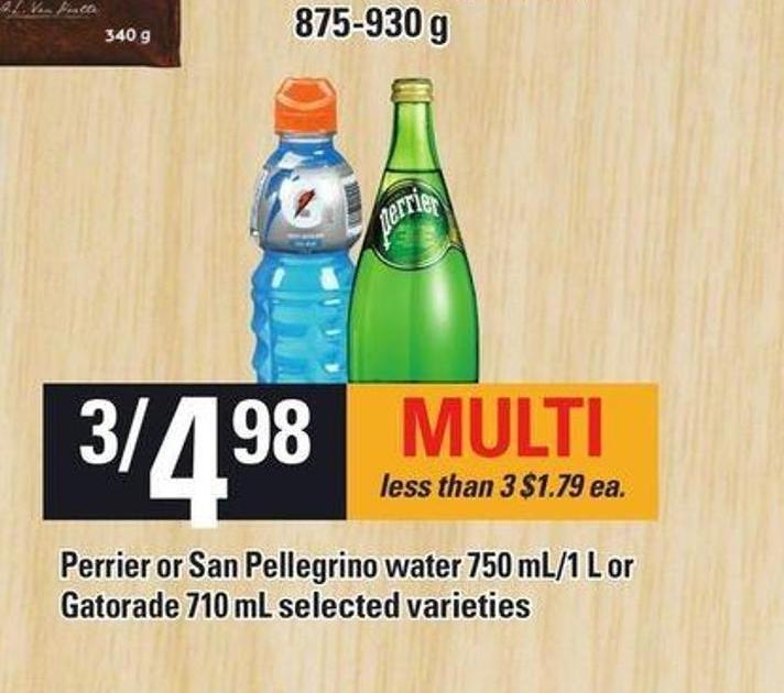 Perrier Or San Pellegrino Water 750 Ml/1 L Or Gatorade 710 Ml
