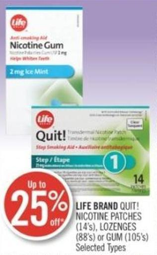 Life Brand Quit! Nicotine Patches (14's) - Lozenges (88's) or GUM (105's)