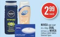 Nivea Bar Soap (4 X 100g) - Dial (473ml) or Nivea (500ml) Body Wash