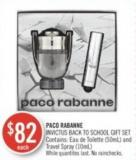 Paco Rabanne Invictus Back To School Gift Set Contains: Eau de Toilette (50ml) and Travel Spray (10ml)