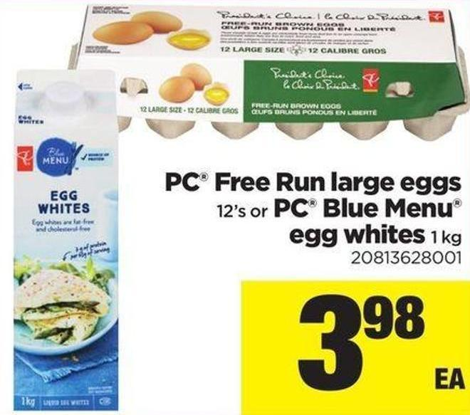 PC Free Run Large Eggs - 12's Or PC Blue Menu Egg Whites - 1 Kg