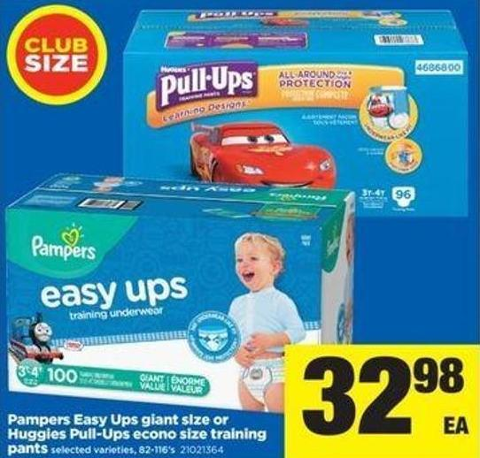 Pampers Easy Ups Giant Size Or Huggies Pull-ups Econo Size Training Pants - 82-116's