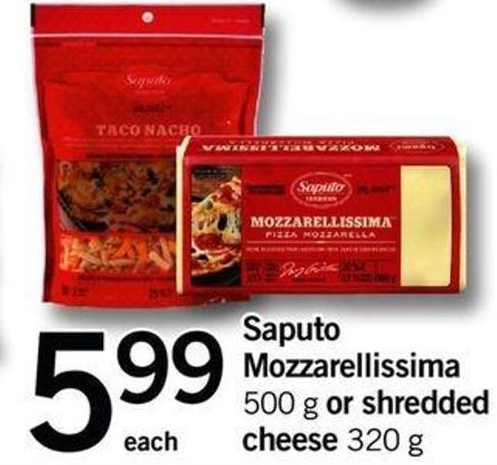 Saputo Mozzarellissima - 500 G Or Shredded Cheese - 320 G