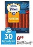 Piller's Pepperoni Sticks 300-500 g - 30 Air Miles Bonus Miles