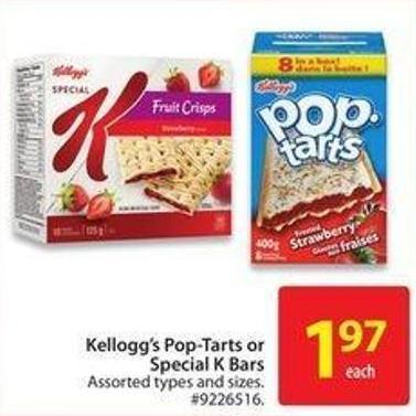 Kellogg's Pop-tarts or Special K Bars