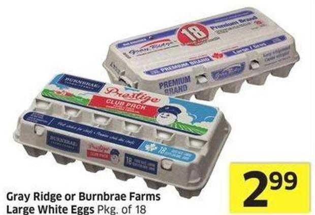Gray Ridge or Burnbrae Farms Large White Eggs Pkg of 18