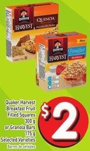 Quaker Harvest Breakfast Fruit Filled Squares 300 g or Granola Bars 175 g