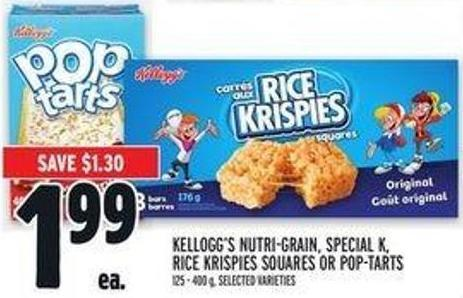 Kellogg's Nutri-grain - Special K - Rice Krispies Squares Or Pop-tarts