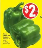 Green Sweet Bell Peppers Product of USA 4.41/kg