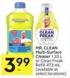 Mr. Clean Multi-surface Cleaner 1.33 L or Clean Freak Refill 473 mL
