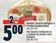 Rudolph's Bavarian Multigrain Or Premium Sandwich Bread 500 g - Or 2.79 Ea.