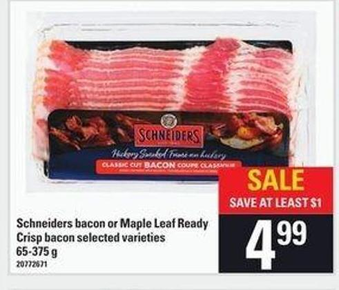 Schneiders Bacon Or Maple Leaf Ready Crisp Bacon - 65-375 g