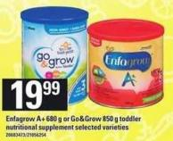 Enfagrow A+ 680 G Or Go & Grow 850 G Toddler Nutritional Supplement