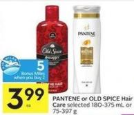 Pantene or Old Spice Hair Care Selected 180-375 mL or 75-397 g - 5 Air Miles Bonus Miles