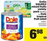 Gogo Squeez Mixed Fruits Variety Pack - 16x90 G Or Dole Tropical Fruit Salad - 2.84 L