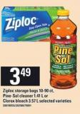 Ziploc Storage Bags - 10-90 Ct - Pine-sol Cleaner - 1.41 L Or Clorox Bleach - 3.57 L