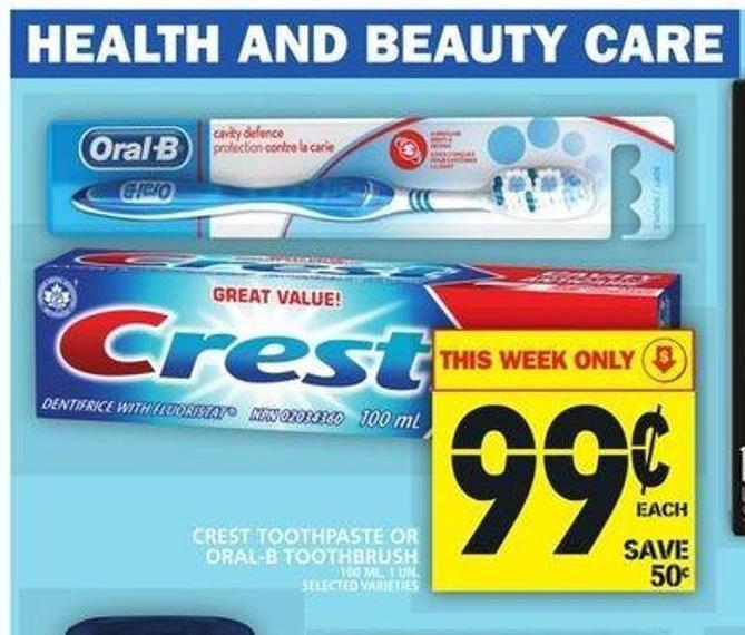 Crest Toothpaste Or Oral-b Toothbrush