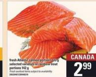Fresh Atlantic Salmon Portions 113 G Or Rainbow Trout Portions 142 G