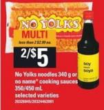No Yolks Noodles - 340 G Or No Name Cooking Sauces - 350/450 Ml
