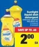 Sunlight Liquid Dish Detergent - 562-800 mL