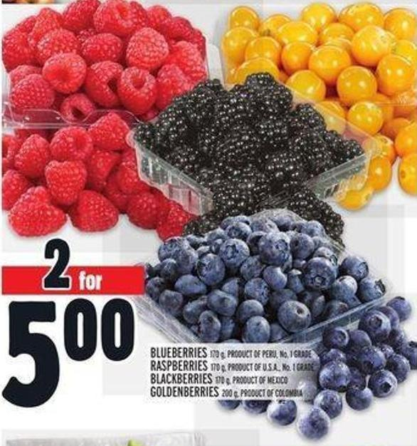 Blueberries 170 g - Product Of Peru - No. 1 Grade Raspberries 170 g - Product Of U.S.A. - No. 1 Grade Blackberries 170 g - Product Of Mexico Goldenberries 200 g