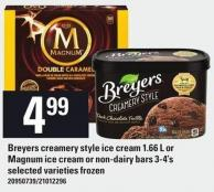Breyers Creamery Style Ice Cream 1.66 L Or Magnum Ice Cream Or Non-dairy Bars 3-4's