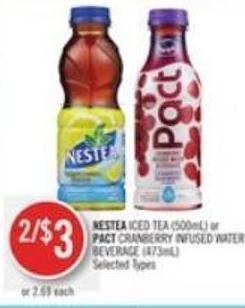 Nestea Iced Tea (500ml) or Pact Cranberry Infused Water Beverage (473ml)