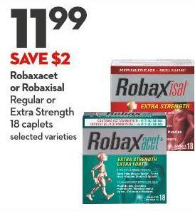 Robaxacet  or Robaxisal Regular or  Extra Strength  18 Caplets