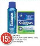 Salonpas Topical Pain Relief Spray (118ml) or Patch (5's - 40's)