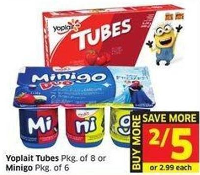 Yoplait Tubes Pkg of 8 or Minigo Pkg of 6