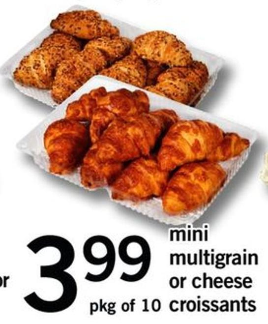 Mini Multigrain Or Cheese Croissants - Pkg Of 10